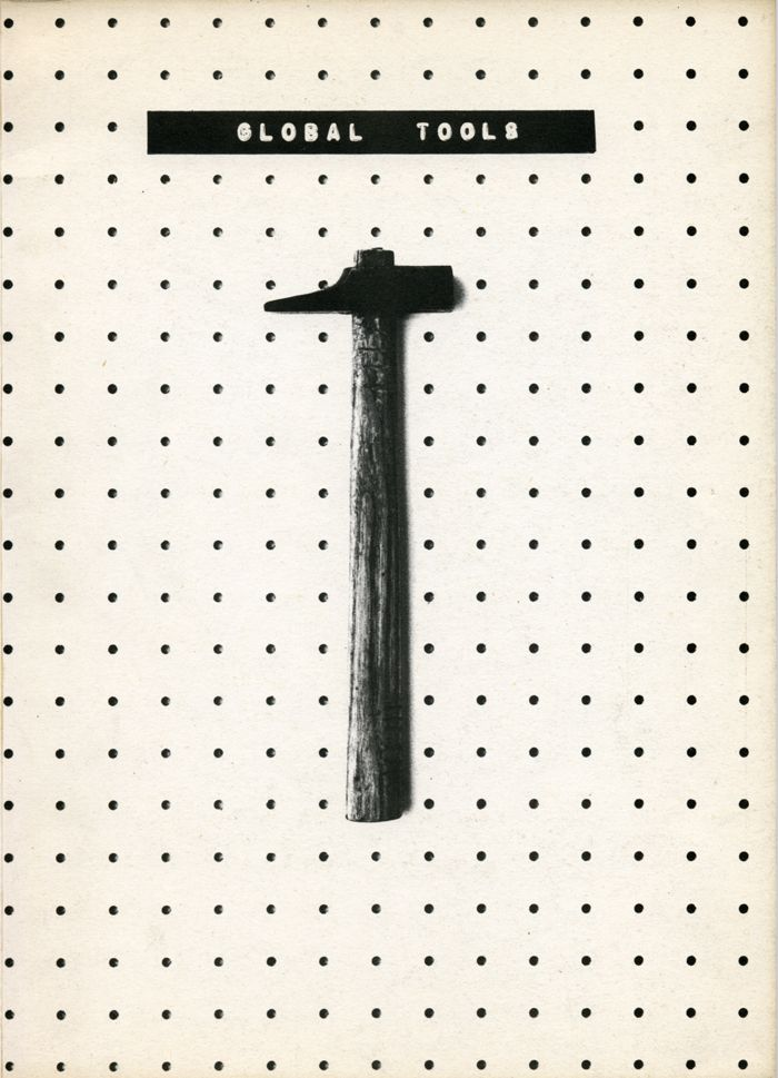 Global Tools Bulletin, no.1 (cover), 1974                                                                                                                                                                                                                       <i>Global Tools Bulletin</i>, no.1 (kapak), 1974