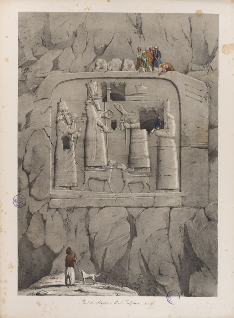 "Austen Henry Layard, Niniveh and Its Remains,1849, vol. 2, plate 51, ""Assyrian Rock Sculpture (Bavian)."" Austen Henry Layard, <i>Niniveh and Its Remains</i>, 1849, c. 2, levha 51, ""Asur Kaya Yontması (Bavian)""."