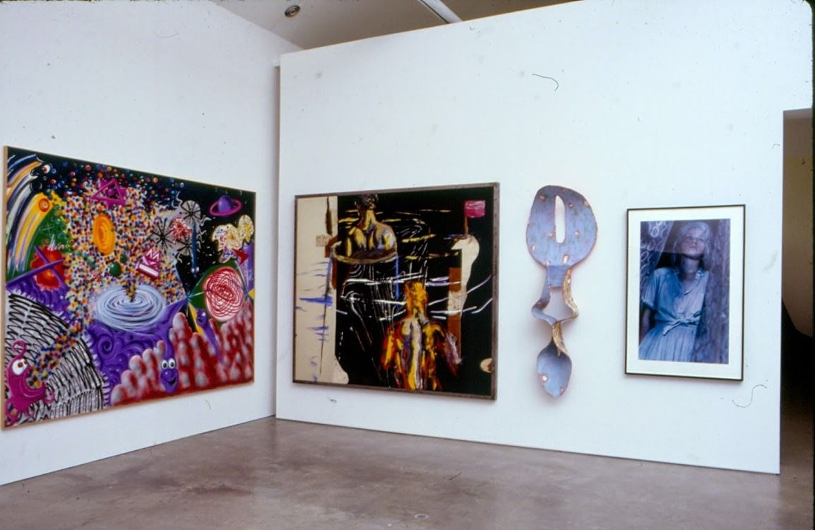 Collection Hero Kenny Scharf, Richard Schnabel, unknown and Cindy Sherman. Installation view from <i>Exhibited</i> curated by Vasıf Kortun, 1994. Photo: Vasıf Kortun, 1994