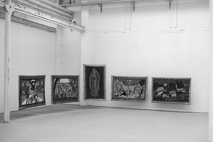 "Gulsun 2 Fig. 3. Gülsün Karamustafa, <i>Postposition</i> (1995), textile collage, 5 pieces, each 49 ¼"" x 39 3/8"". Foreign Services Exhibition, Shedhalle, Zurich"