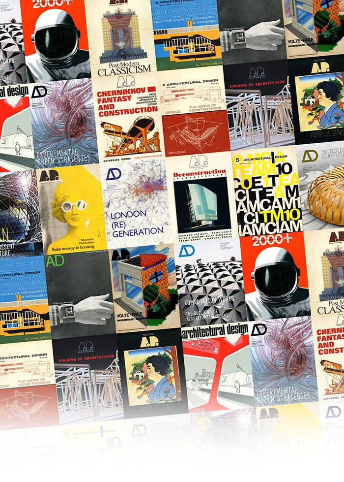 Classic and contemporary covers from the magazine Architectural Design <i>Architectural Design</i> dergisinin farklı tarihli kapaklarından bir derleme
